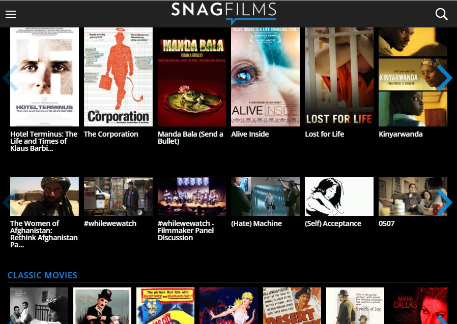Stream classic movies in Snagflims like Fmovies