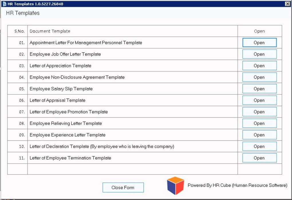 HR Document Template Software