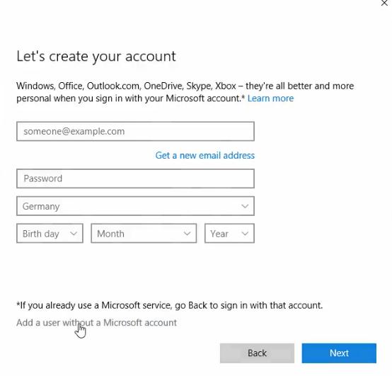 Windows 10 create account form