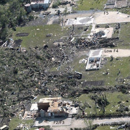 Aerial Shot of the Damage from the Elie Tornado