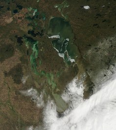 MODIS satellite imagery showing the snow swath through the southern Interlake.