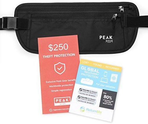 Peak Travel Money Belt with built-in RFID Block
