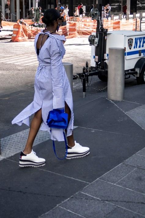 platrom sneakers worn with strip dress4