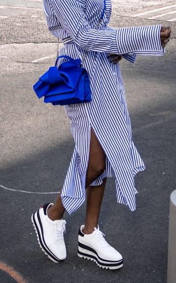 platrom sneakers worn with strip dress8