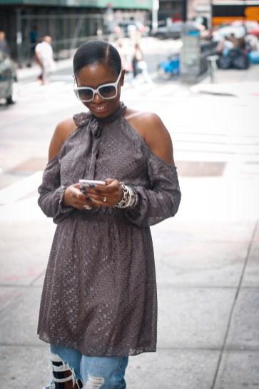 cold shoulder dress over jeans-19