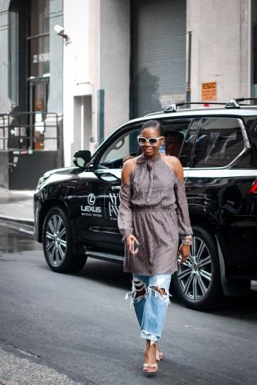 cold shoulder dress over jeans-22