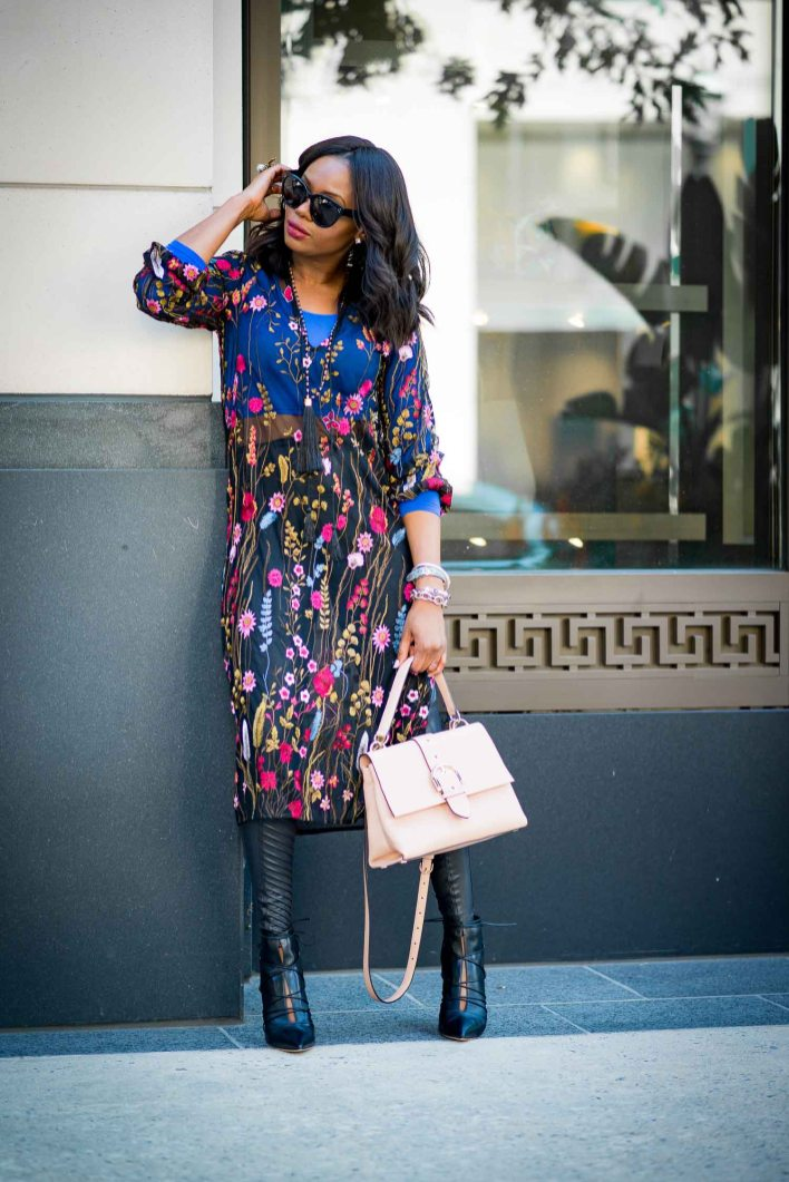 floral midi dress worn with leather leggings - holiday fashion -3