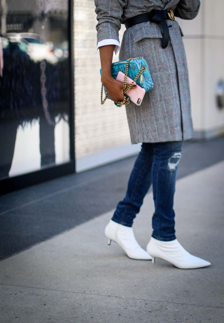 Plaid oversized jacket worn with skinny jeans and white booties worn by Atlanta fashion blogger-13