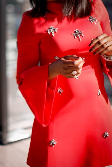 asos red holiday dress in scuba fabric worn in Toronto by Atlanta fashion blogger-11
