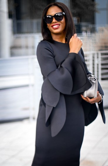black scuba midi dress with bell sleeves wore by fashion blogger Atlanta blogger-12