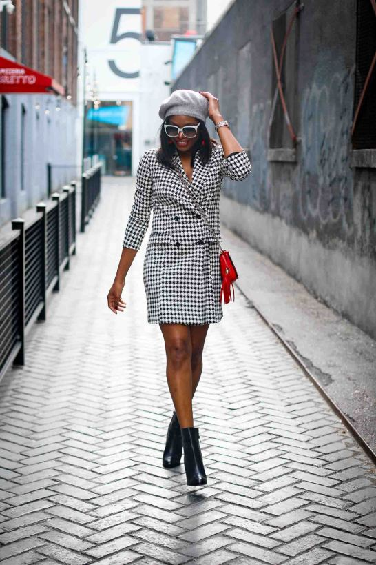hondstooth blazer dress and louboutin booties atlanta blogger, holiday fashion-25