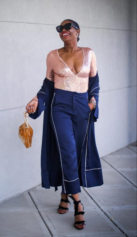 pajama trend worn with sequin body suit, celine sunglasses and alexandre birman sandals by fashion blogger atlanta lifestyle blogger-11