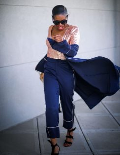 pajama trend worn with sequin body suit, celine sunglasses and alexandre birman sandals by fashion blogger atlanta lifestyle blogger-25