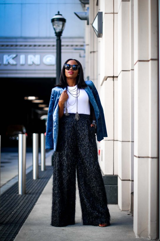 velvet jacket and wide leg pants for the holidays by brunello cucinelli worn by Atlanta blogger-11