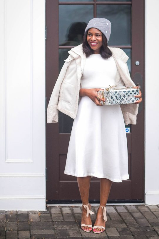 How to style an all white outfit for the winter Atlanta fashion blogger wearing white coat. Holiday outfit -2