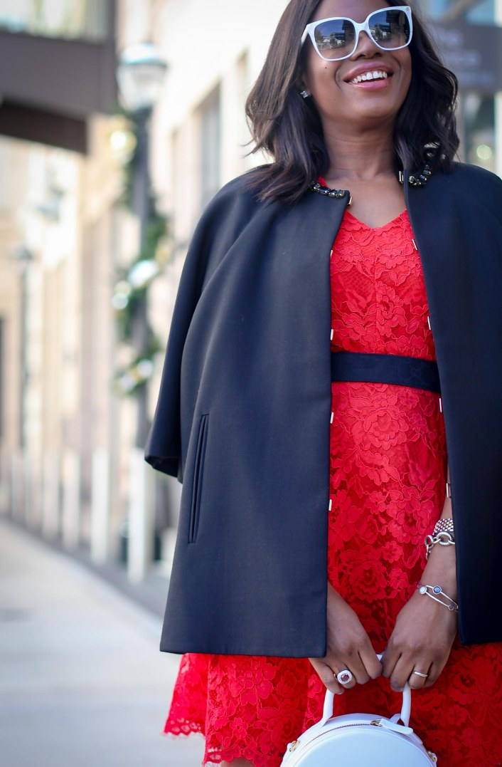 Red Lace dress worn with black cape coat for the holidays outfit by Draper James by Reese Withersppoon-9