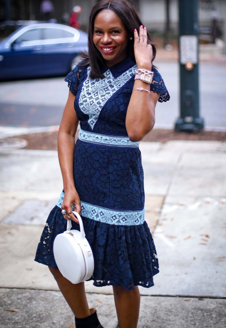 blue lace midi dress by Draper James. Dress worn with a biker jacket and booties by Atlanta fashion blogger -1