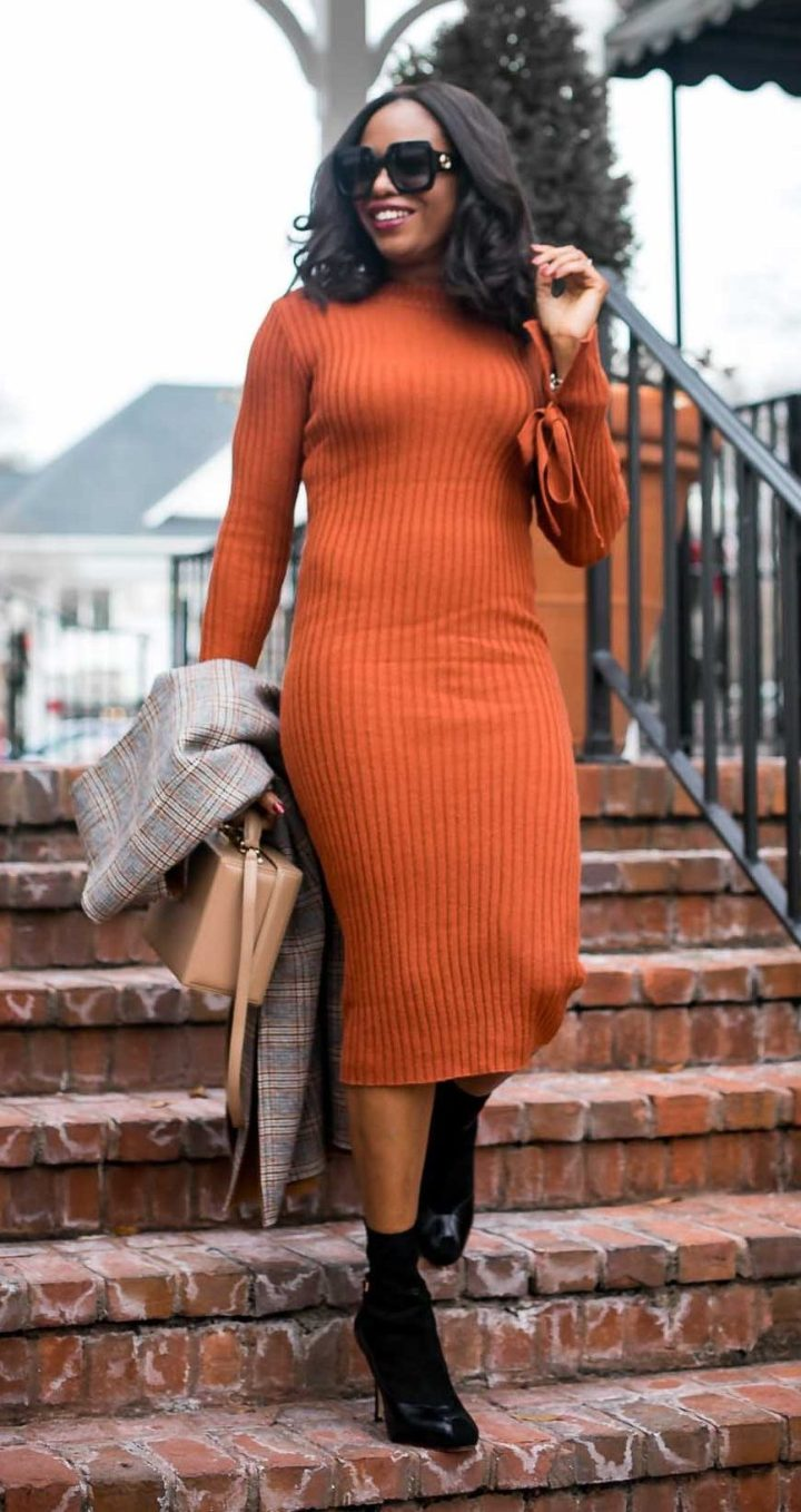 brown sweater dress worn with black booties, and brown box bag, with a plaid long vest by Atlanta fashion blogger-7