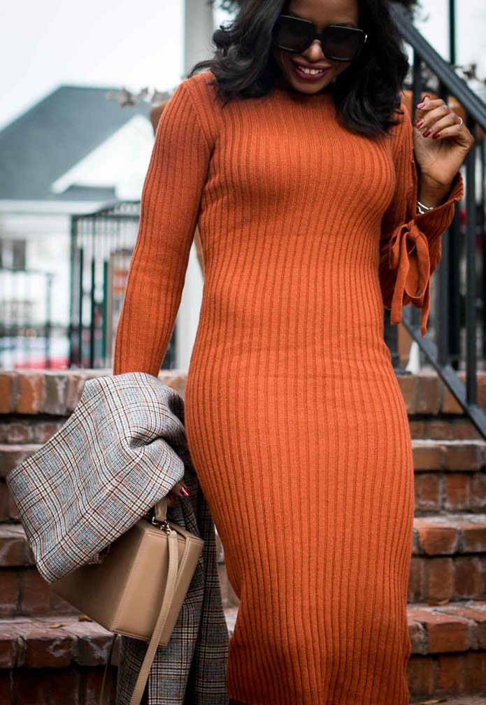 brown sweater dress worn with black booties, and brown box bag, with a plaid long vest by Atlanta fashion blogger-9