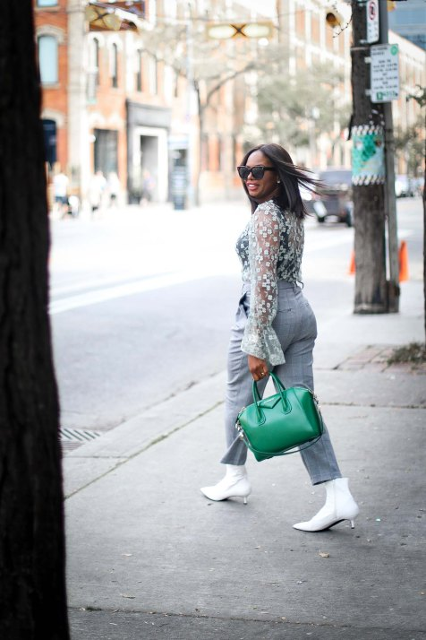 lace top worn with plaid high waist pants and white booties outfit by Top fashion blogger-10