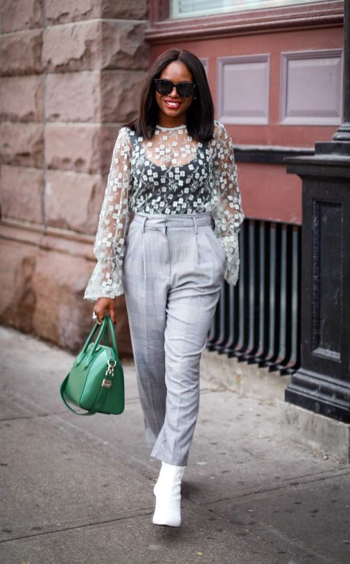 lace top worn with plaid high waist pants and white booties outfit by Top fashion blogger-13
