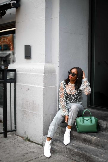 lace top worn with plaid high waist pants and white booties outfit by Top fashion blogger-5