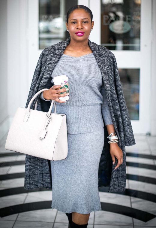 Atlanta blogger wearing grey knit skirt set and fabric boots with henri bendel bag and plaid Abercrombie plaid coat-3