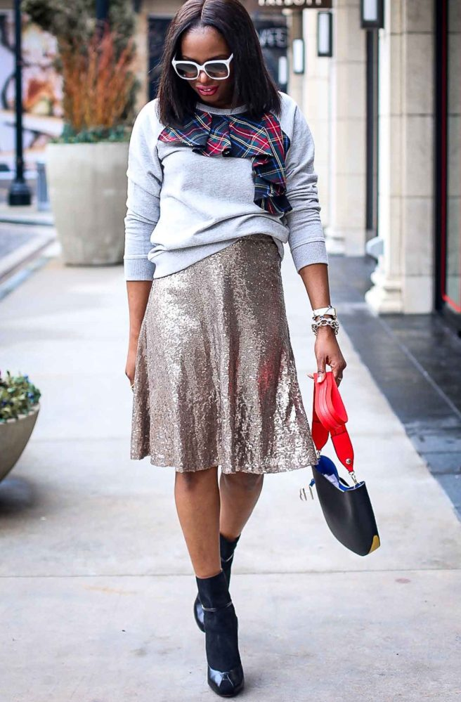 Atlanta fashion blogger wearing a j.crew plaid sweatshirt, sequin skirt, white gucci sunglasses and black high-heel booties-14
