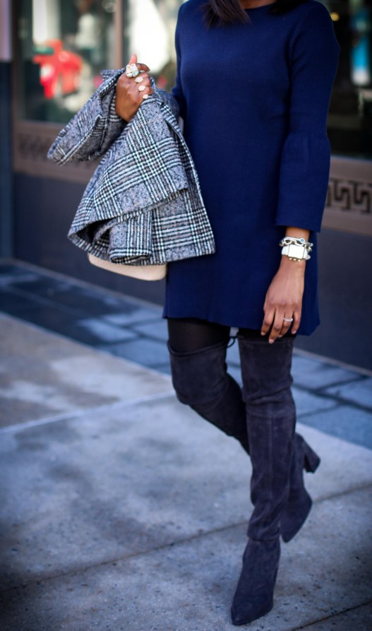 Atlanta fashion blogger wearing a navy knit bell-sleeve dress, stuart weitzman otk boots, plaid double-breast coat, henri bendel bag, and celine sunglasses-14
