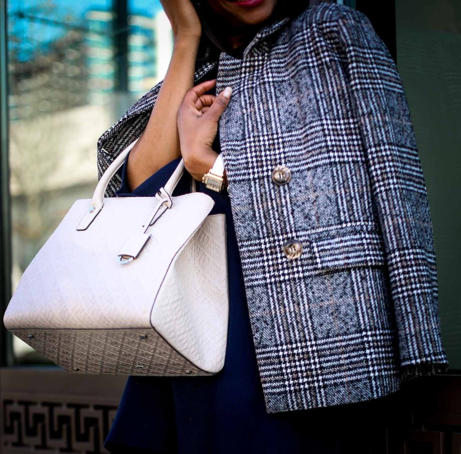 Atlanta fashion blogger wearing a navy knit bell-sleeve dress, stuart weitzman otk boots, plaid double-breast coat, henri bendel bag, and celine sunglasses-7