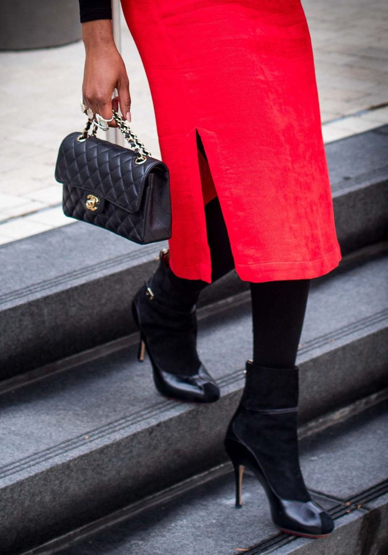 suede booties and Chanel bag