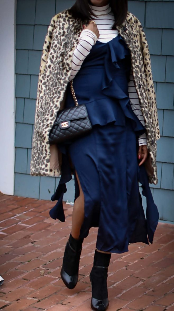 slip dress worn with a j.crew stripe turtle neck top, a leopard coat and black booties by Atlanta fashion and lifestyle blogger -19