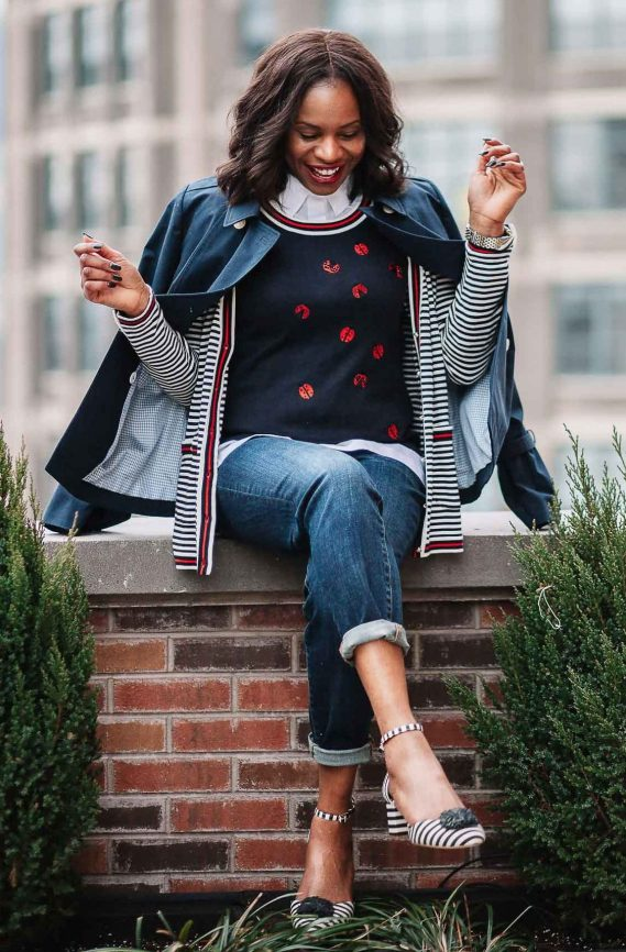 Fashion blogger wearing talbots x Oprah collection for spring. ladybug sweater and boyfriend jeans-13