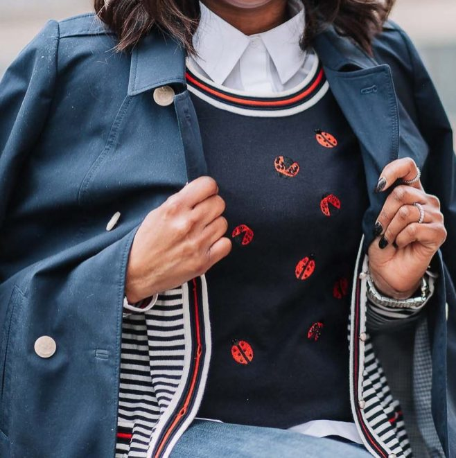 Fashion blogger wearing talbots x Oprah collection for spring. ladybug sweater and boyfriend jeans-9