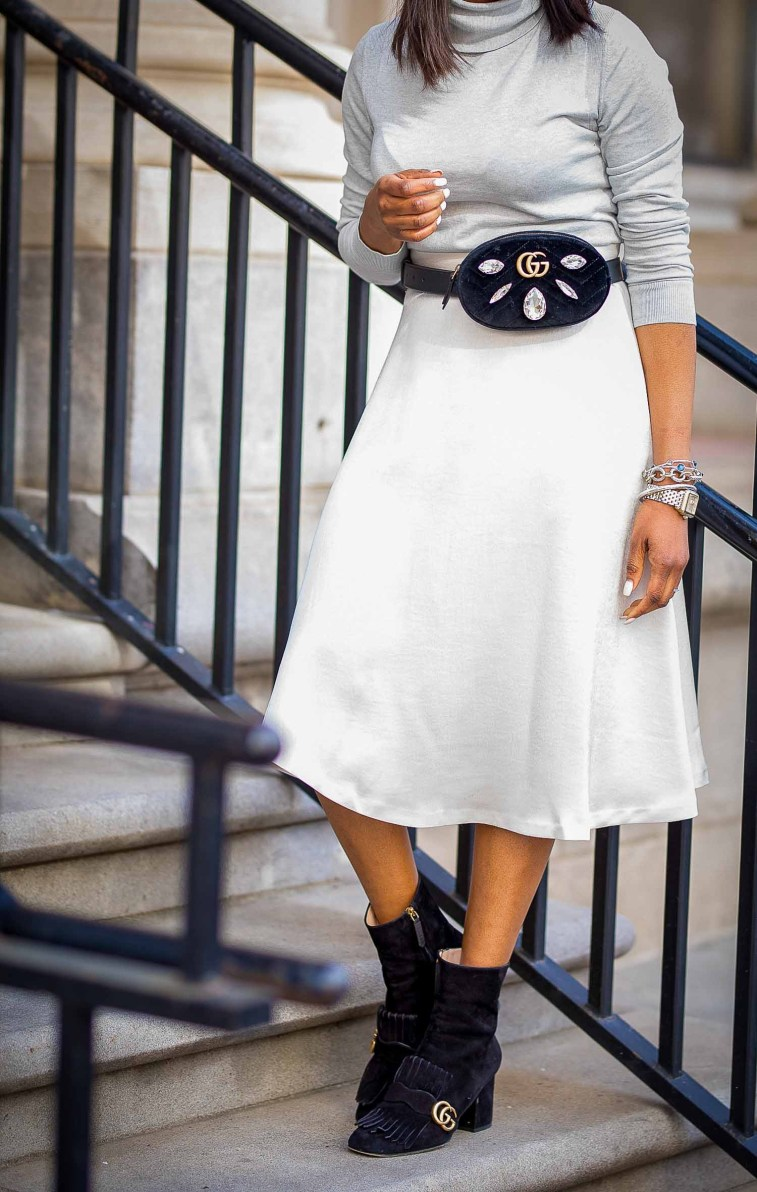 winter monochromatic winter outfit featuring gucci sunglasses, gucci booties, and gucci waist bag-9