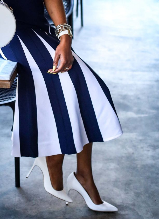 Atlanta fashion blogger wearing navy and white New York and Co. midi dress by Eva Mendes worn with white Manolo BB pumps and white circle bag-12
