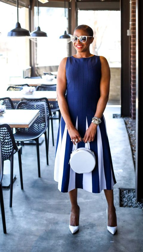 Atlanta fashion blogger wearing navy and white New York and Co. midi dress by Eva Mendes worn with white Manolo BB pumps and white circle bag-15