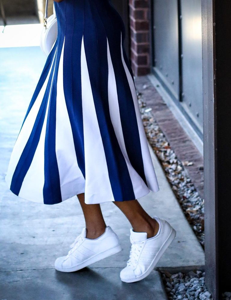 Atlanta fashion blogger wearing navy and white New York and Co. midi dress by Eva Mendes worn with white Manolo BB pumps and white circle bag-7