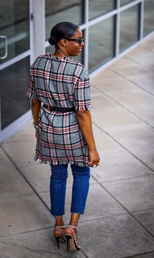 Tweed dress worn over jeans with Valentino rockstuds and ponted cat-eye sunglasses by Atlanta blogger_-11