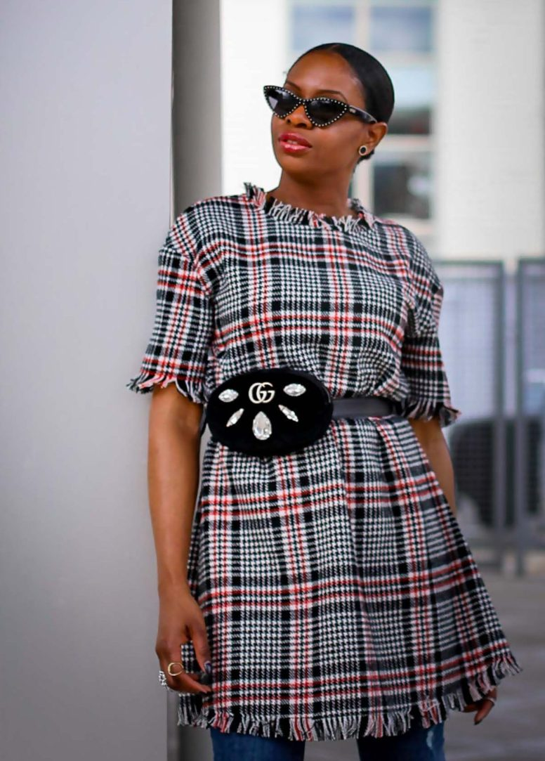 Tweed dress worn over jeans with Valentino rockstuds and ponted cat-eye sunglasses by Atlanta blogger_-8