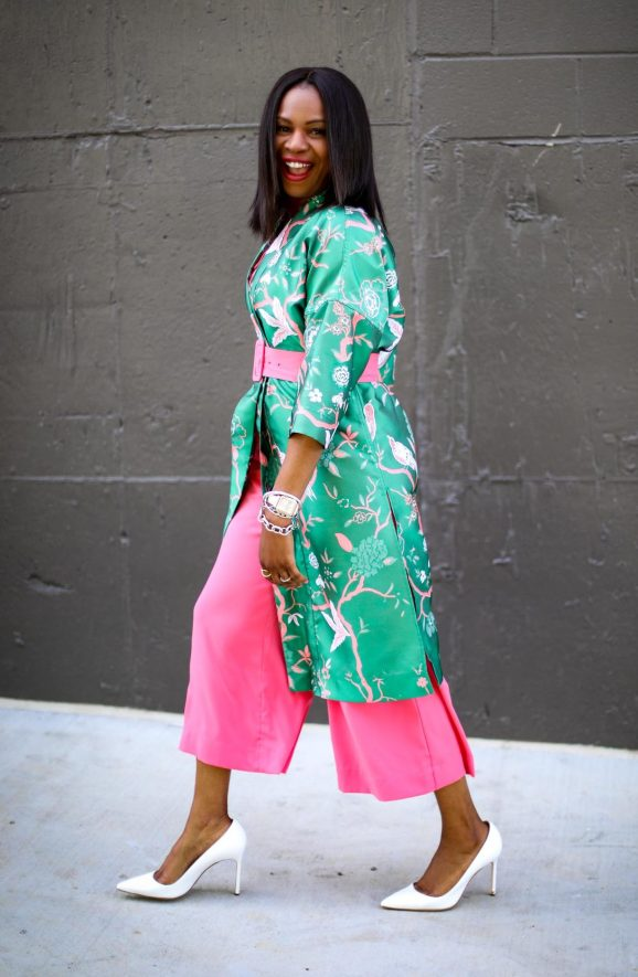 Atlanta fashion blogger wearing Gabrielle union for New York and Compnay spring pink jumpsuit and green floral kimono and white pumps by manolo blahink-10