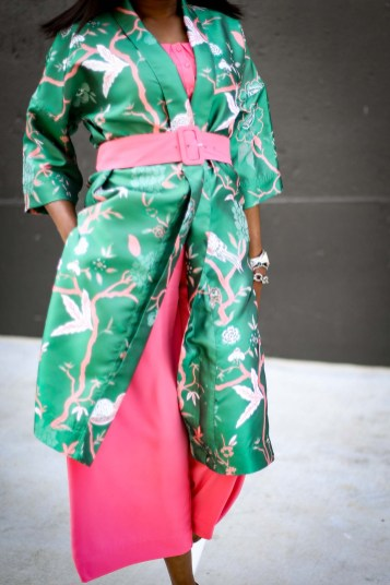 Atlanta fashion blogger wearing Gabrielle union for New York and Compnay spring pink jumpsuit and green floral kimono and white pumps by manolo blahink-11
