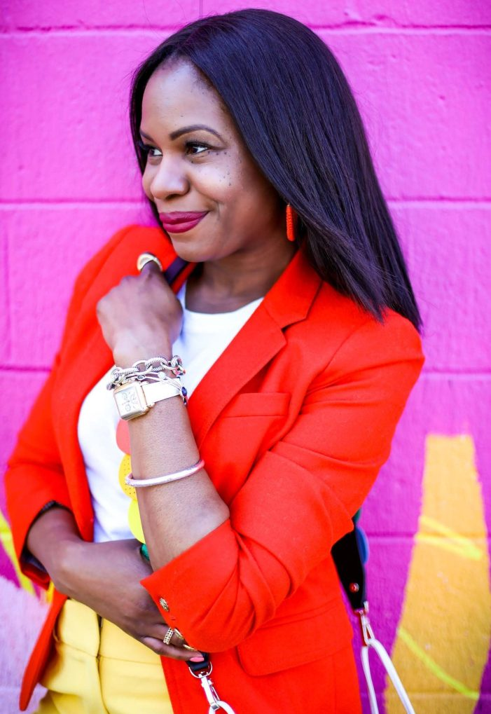 Atlanta fashion blogger wearing yellow pants, orange jcrew blazer, white vince t-shirt, henri bendel earrings and henri bendel bag to create the perfect spring outfit-22
