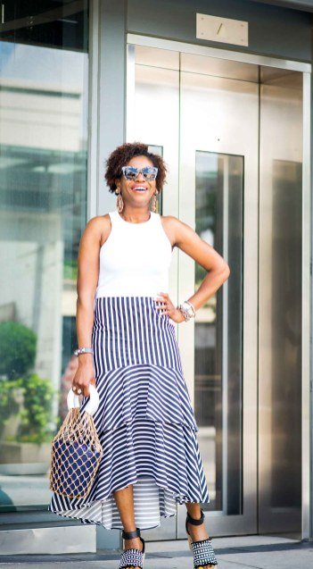 how to style a blue and white ruffle hem maxi skirt from banana republic by top atlanta fashion blogger