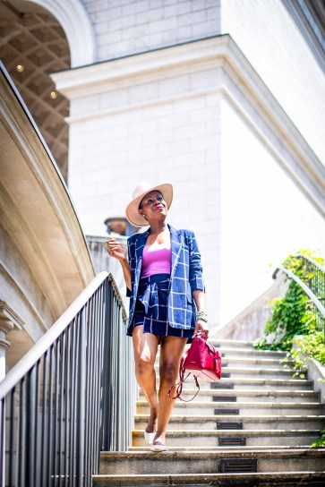 Fashion blogger Monica Awe-Etuk of Awed by Monica wearing a plaid suit from nordstrom, pink flats, a pink hat and a SENREVE bag for fall fashion_-2