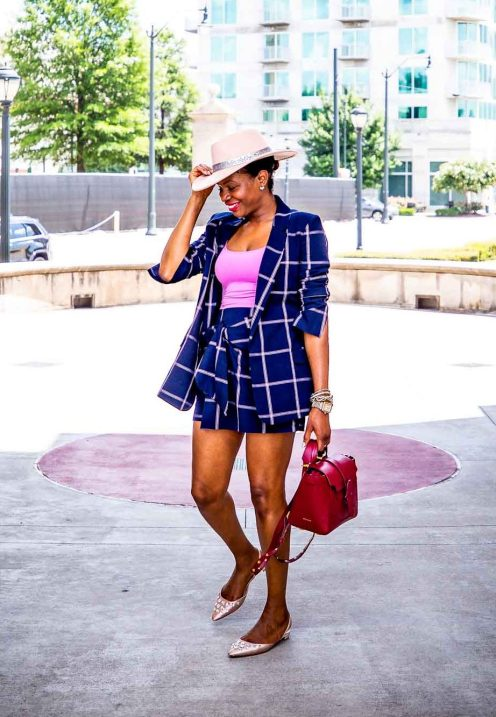 Fashion blogger Monica Awe-Etuk of Awed by Monica wearing a plaid suit from nordstrom, pink flats, a pink hat and a SENREVE bag for fall fashion_-5