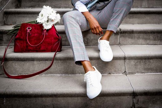 Atlanta fashion and lifestyle blogger Monica Awe-Etuk wearing plaid suit, silk square scarf, sneaker and white shirt from Talbots-13