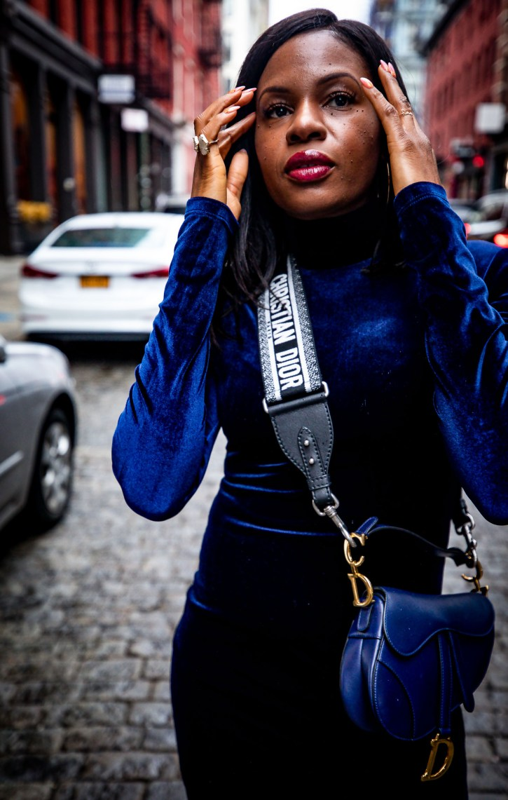 How to give your velvet dress a stylish edge for the holidays. Holiday fashion with Atlanta blogger Monica Awe-Etuk..