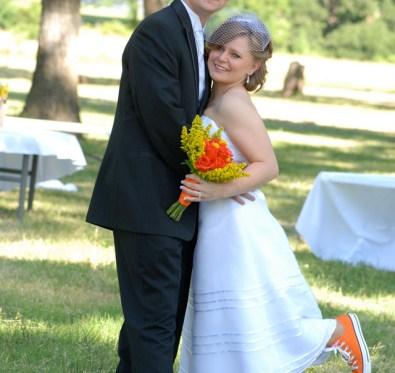 orange and yellow wedding attire