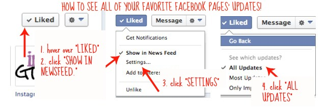 Four steps to see all your favorite Facebook Pages' updates!